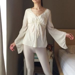 Vintage Silky Beaded White Blouse